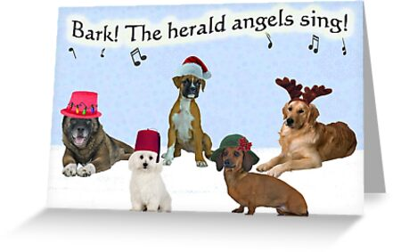 Bark The Herald Angels Sing Dogs Christmas by CafePretzel