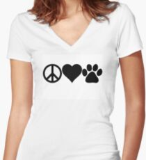 Peace Love Dog paw Women's Fitted V-Neck T-Shirt