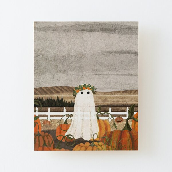 There's a Ghost in the Pumpkins Patch Again... Wood Mounted Print
