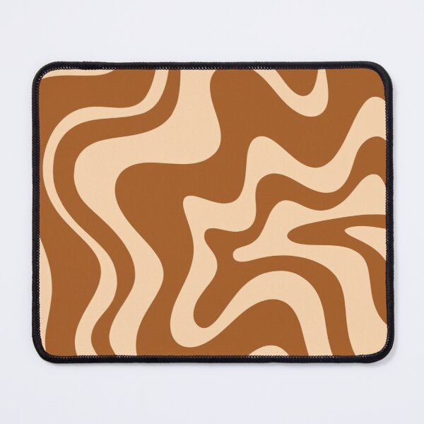Retro Liquid Swirl Abstract Pattern in Brown and Apricot Mouse Pad