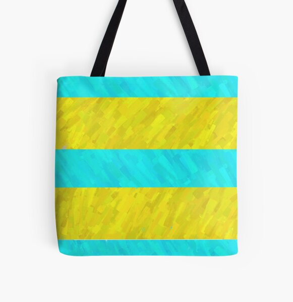 Water and Beach Stripes All Over Print Tote Bag