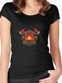 Retired Firefighter Badge - Fireman Rescue Hero  Women's Fitted Scoop T-Shirt