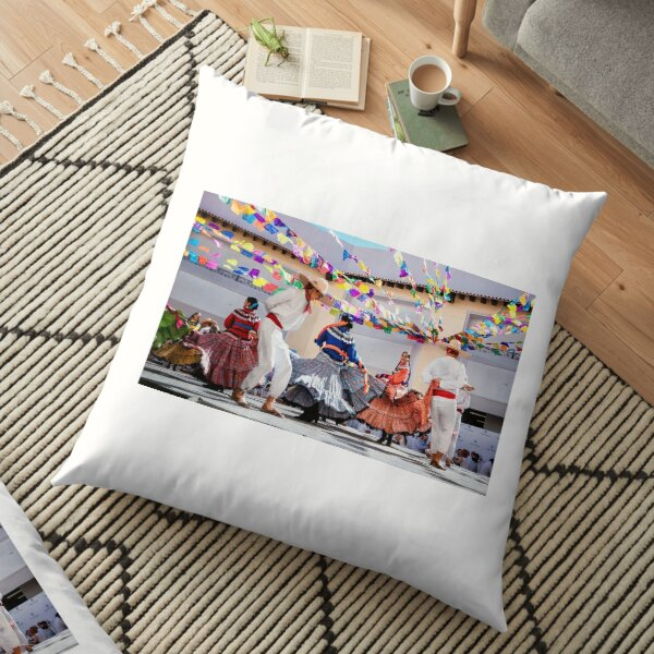 Photo of folklore dancers dancing in a beautiful traditional dress Floor Pillow