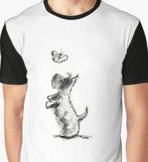 Scottie Dog & Butterfly Graphic T-Shirt