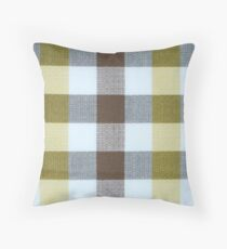 Vintage Volkswagen VW Bus Brown Yellow Plaid Pattern Throw Pillow