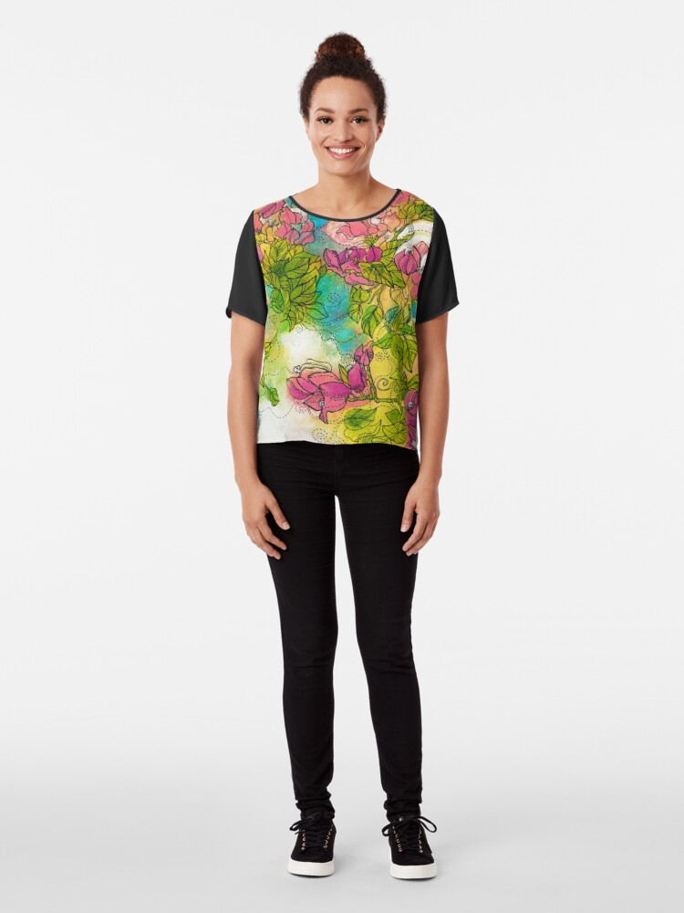Alternate view of Tropical Flowers Chiffon Top