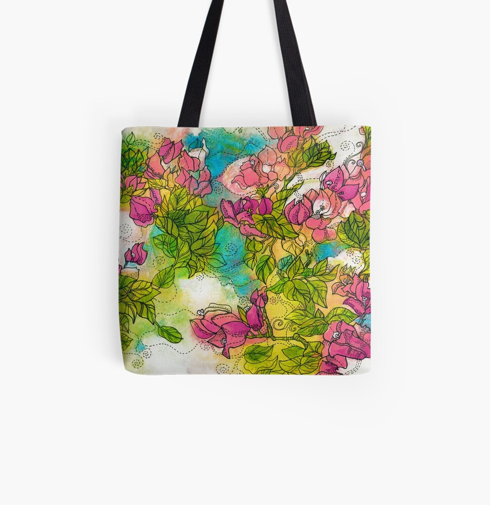 Tropical Flowers All Over Print Tote Bag