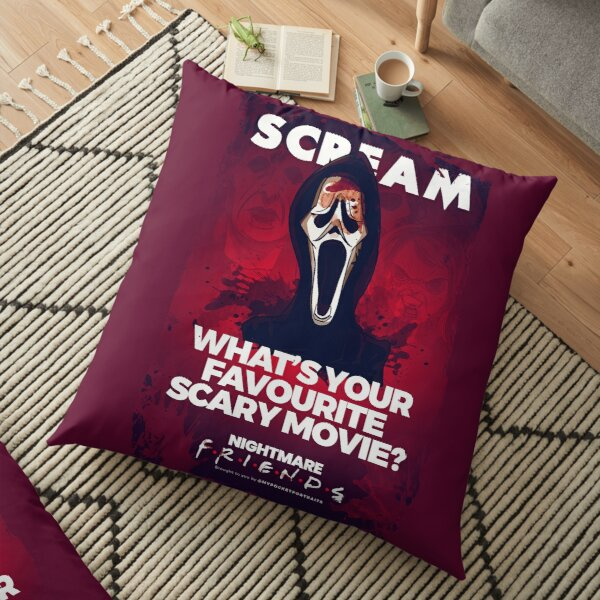 Classic Horror Movie Character Illustration & Quote Floor Pillow