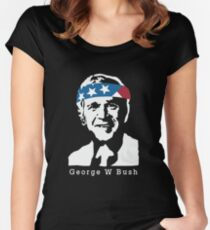 President George W Bush American Patriot Vintage Women's Fitted Scoop T-Shirt