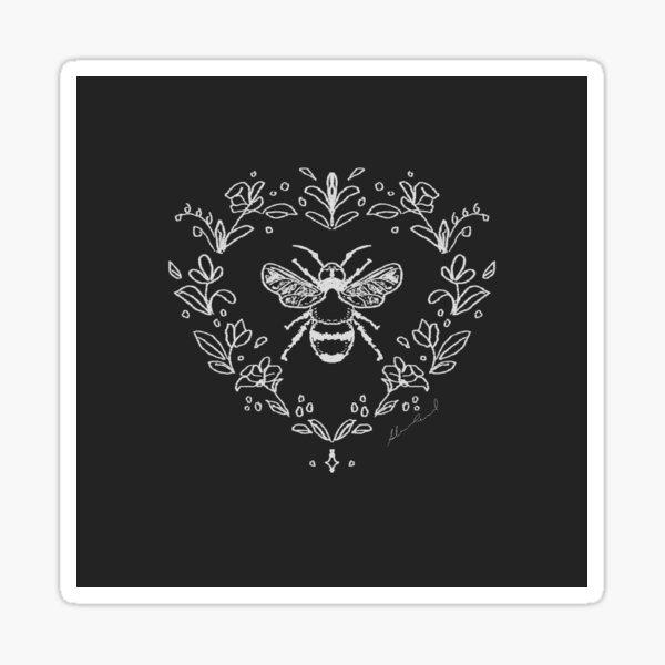 Chalk Board Bee in Black and White Sticker