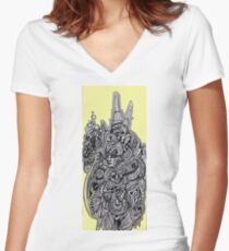 Sci-fi Visitor 5  Women's Fitted V-Neck T-Shirt