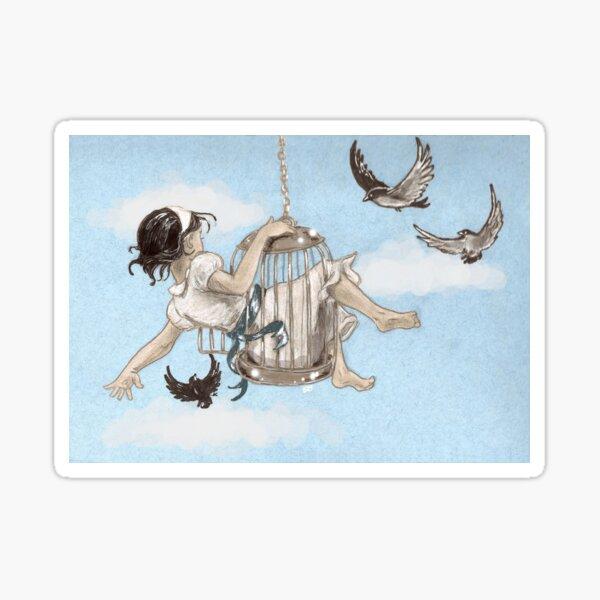 Girl in a Birdcage Sticker