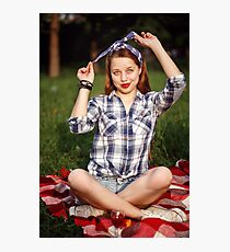 Beautiful Smiling Woman Dressed in Pin Up Style Photographic Print