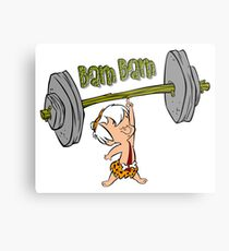 Funny Bam Bam Training The Flintstones Cartoon Metal Print