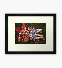 Young Beautiful Smiling Girls Dressed in Pin Up Style Framed Print