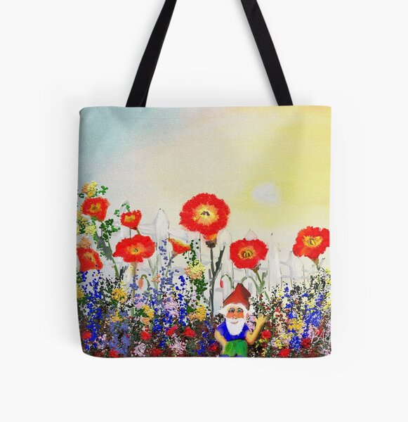 Gnome and His Garden All Over Print Tote Bag