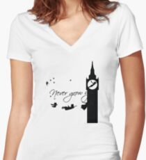 Never Grow up Peter Pan Second Women's Fitted V-Neck T-Shirt
