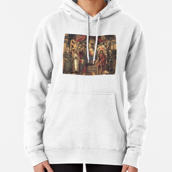Botticelli Sandro  (1445-1510) Virgin and Child with Saints from the Altarpiece of San Barnabas (1488) Pullover Hoodie