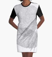 Leaves in black and white Graphic T-Shirt Dress