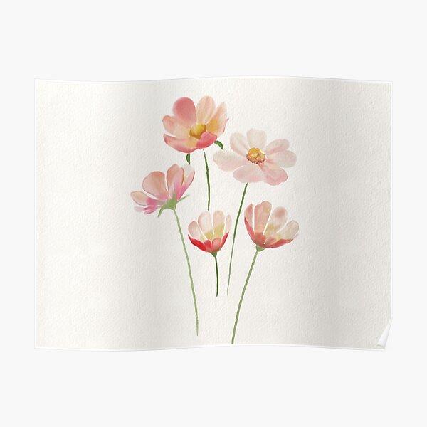 Simple Watercolor Flowers Poster