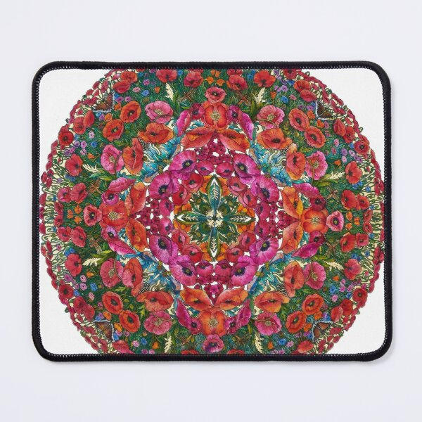 Poppies and Cornflowers: White Background Mouse Pad