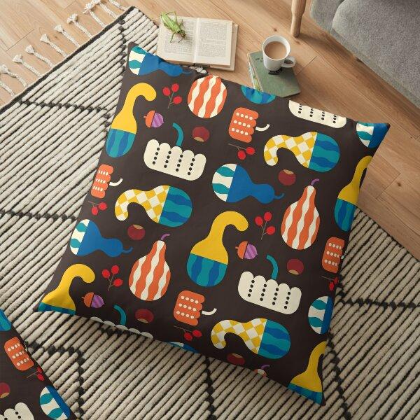 Autumn Gourds Brown Floor Pillow