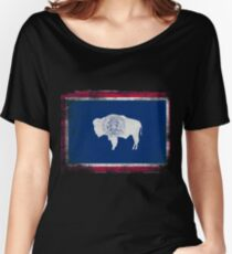 Wyoming State Flag Distressed Vintage Shirt Women's Relaxed Fit T-Shirt