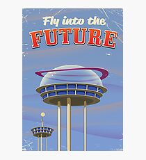Fly into the Future vintage sci-fi poster Photographic Print
