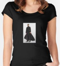 Keanu Reeves in Matrix Reloaded Women's Fitted Scoop T-Shirt