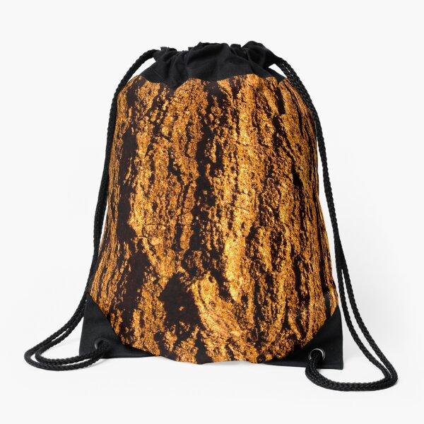 Orange Bark Texture Photo Drawstring Bag
