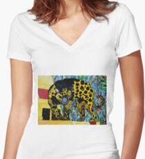 Aztec Jaguare 2 Original Artwork by Jose Juarez Women's Fitted V-Neck T-Shirt