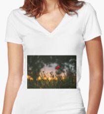Poppy Flower in Field Women's Fitted V-Neck T-Shirt