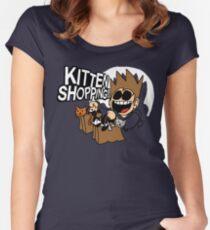 EDDSWORLD KITTEN SHOPPING Women's Fitted Scoop T-Shirt