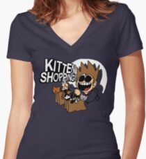 EDDSWORLD KITTEN SHOPPING Women's Fitted V-Neck T-Shirt