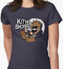 EDDSWORLD KITTEN SHOPPING Womens Fitted T-Shirt