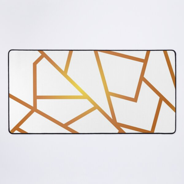 White and Gold Desk Mat