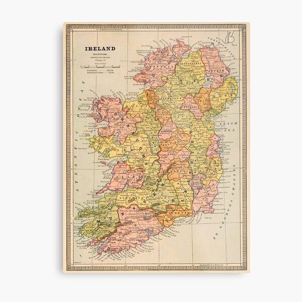 Vintage Map Of Ireland (1883) Metal Print