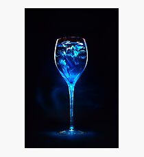 Amazing blue cocktail with ice cubes in high glass Photographic Print
