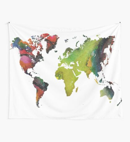 Map of the world green red Wall Tapestry