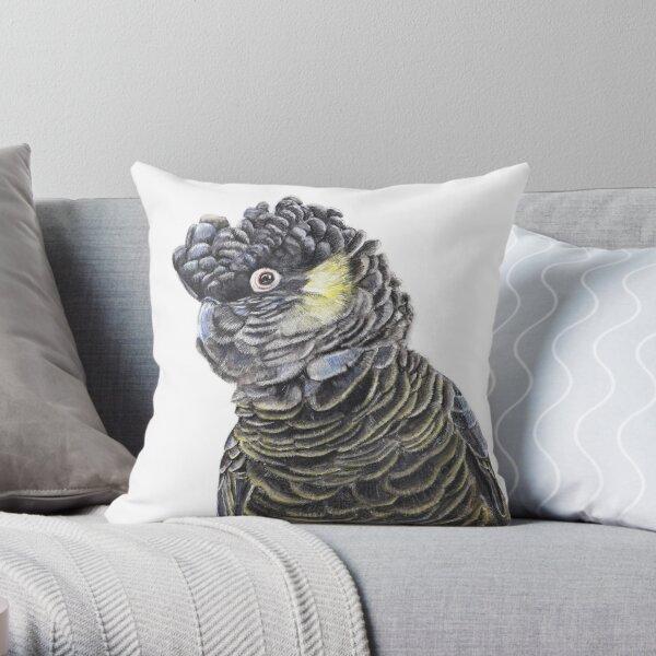 Yellow-Tail Black Cockatoo - Colour Pencil Art Throw Pillow