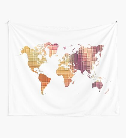 Map of the world pastel cube Wall Tapestry