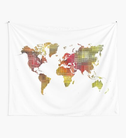 Map of the world colored cube Wall Tapestry