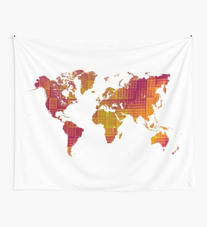 World map orange cube Wall Tapestry