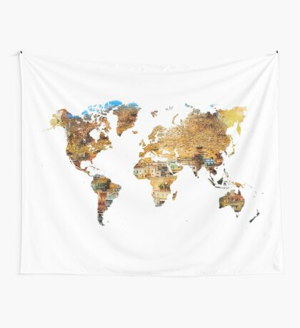 Map of the world house living Wall Tapestry