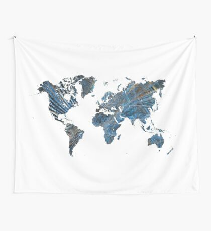 World Map fractal 3 Wall Tapestry