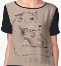 """Guardian"" - Lioness and Cub prisma pencil drawing Women's Chiffon Top"