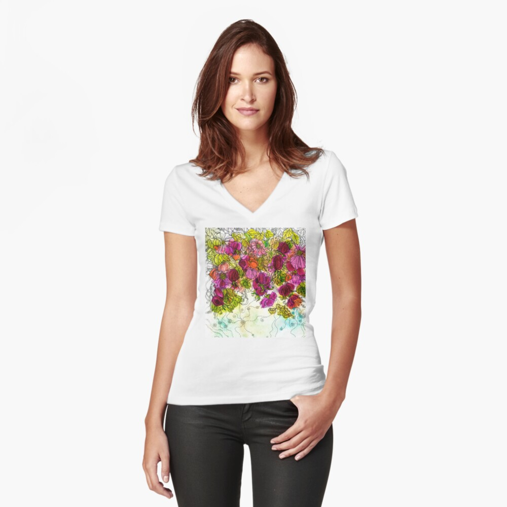 Dog-Rose. Autumn. Fitted V-Neck T-Shirt