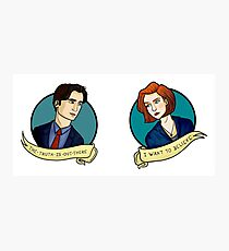 X-Files, Mulder + Scully Photographic Print