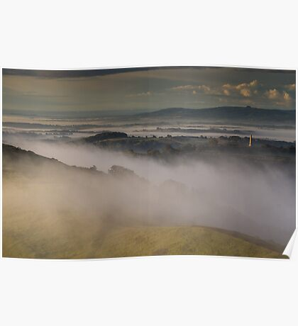 Swirling Mist on Hereford Beacon Poster