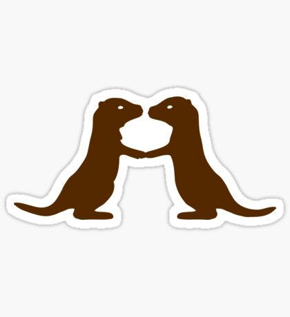 Otters Holding Hands Sticker